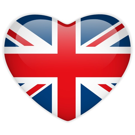 english flag: Vector - United Kingdom Flag Heart Glossy Button