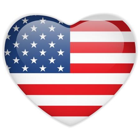 united  states of america: Vector - Bandiera degli Stati Uniti Button Cuore Glossy