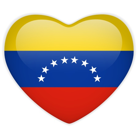 bandera de venezuela: Vector - Bandera de Venezuela bot�n del coraz�n brillante