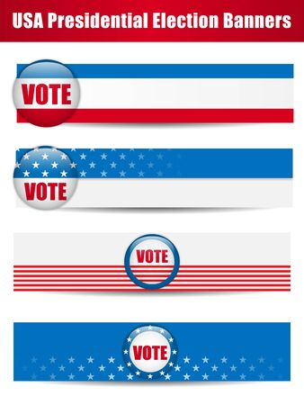 Vector - Vote Banners. Set of four with Background