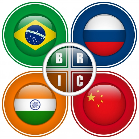 chinese flag: Vector - BRIC Countries Buttons Brazil Russia India China Illustration
