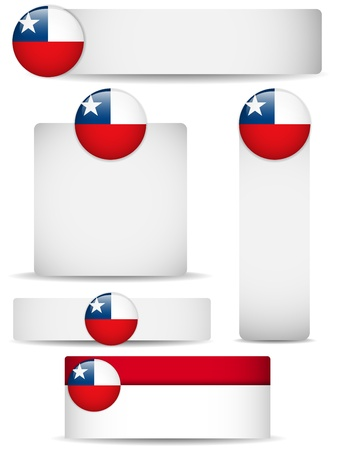 chile flag: Chile Country Set of Banners Illustration