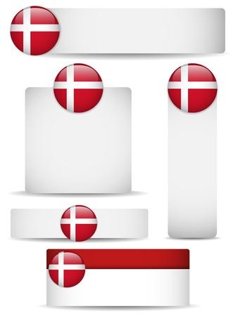 denmark flag: Denmark Country Set of Banners