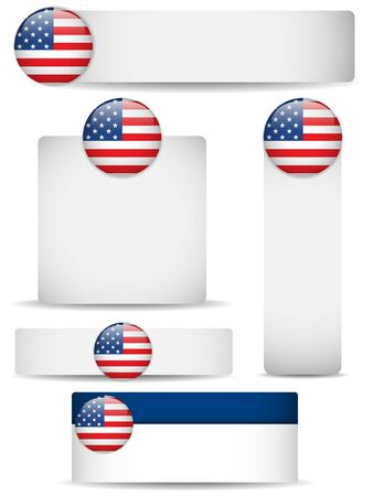 United States Country Set of Banners Vector