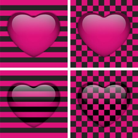 Set of Four Glossy Emo Hearts. Pink and Black Chess and Stripes Vector