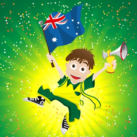 Australia Sport Fan with Flag and Horn Vector