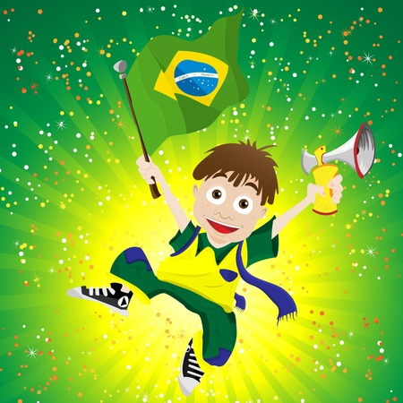 world cup: Brazil Sport Fan with Flag and Horn