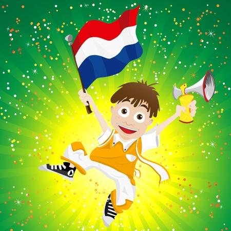 soccer fan: Vector - Dutch Sport Fan with Flag and Horn