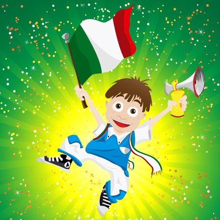 Italy Sport Fan with Flag and Horn Illustration
