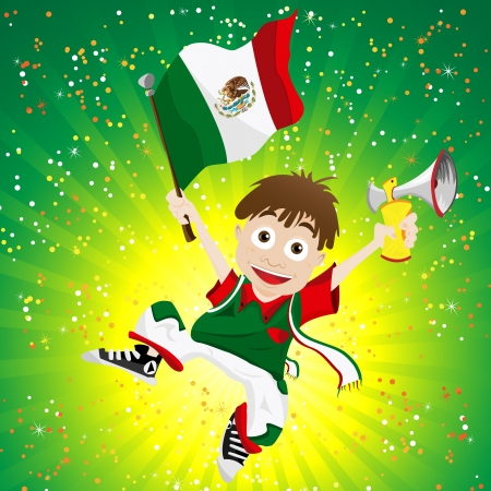 mexican cartoon: Vector - Mexico Sport Fan with Flag and Horn Illustration
