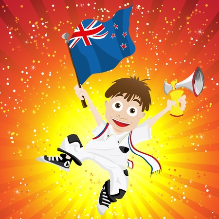 Vector - New Zealand Sport Fan with Flag and Horn Stock Vector - 13718259