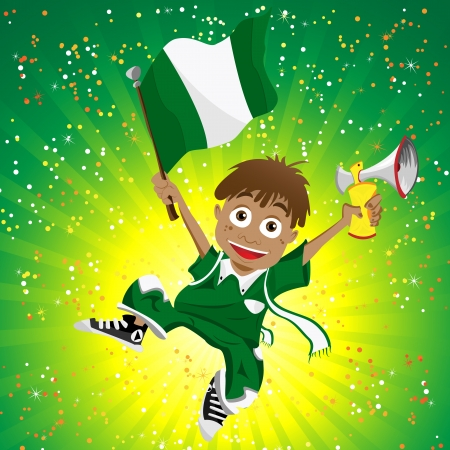 nigerian:  Nigeria Sport Fan with Flag and Horn Illustration