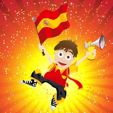 Spain Sport Fan with Flag and Horn Stock Vector - 13718310