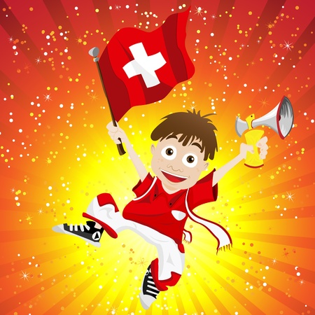 switzerland flag: Switzerland Sport Fan with Flag and Horn Illustration