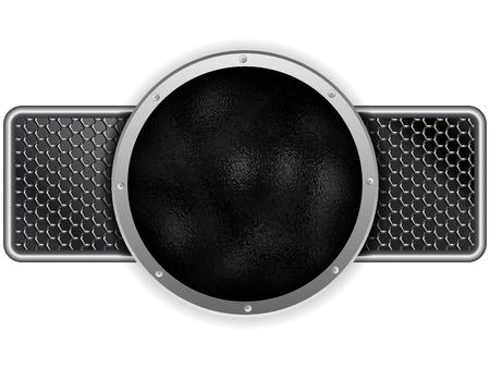 Vector - Hammered Metal Circle Silver Banner Illustration