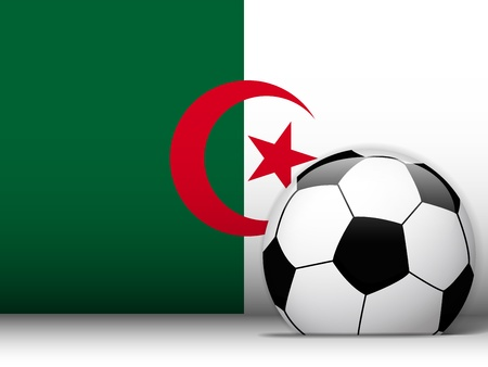 Vector - Algeria Soccer Ball with Flag Background Vector