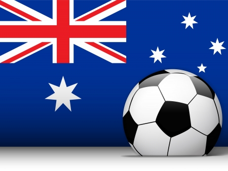 Vector - Australia Soccer Ball with Flag Background Vector