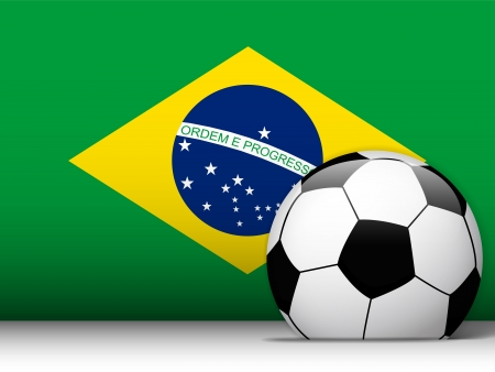Vector - Brazil Soccer Ball with Flag Background Vector