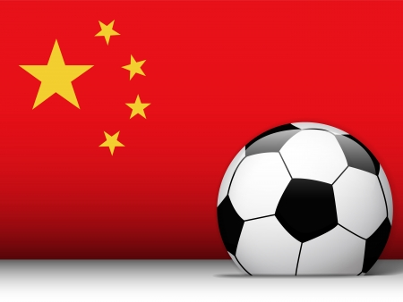 chinese flag: Vector - China Soccer Ball with Flag Background Illustration