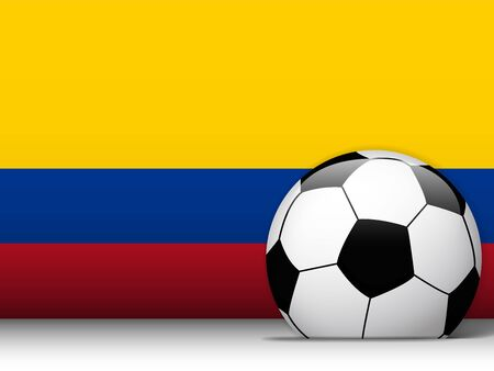 colombian: Vector - Colombia Soccer Ball with Flag Background Illustration