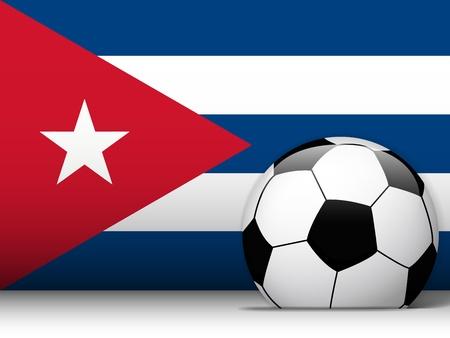 cuban: Vector - Cuba Soccer Ball with Flag Background