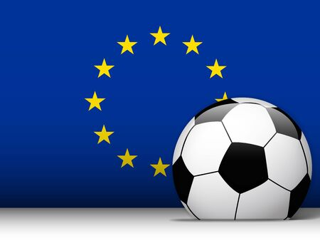 Vector - Europe Soccer Ball with Flag Background Vector