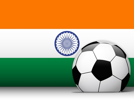 indian art: Vector - India Soccer Ball with Flag Background