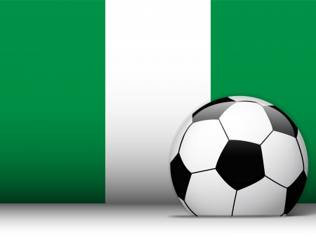 Vector - Nigeria Soccer Ball with Flag Background Vector