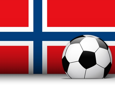 norwegian flag: Vector - Norway Soccer Ball with Flag Background Illustration