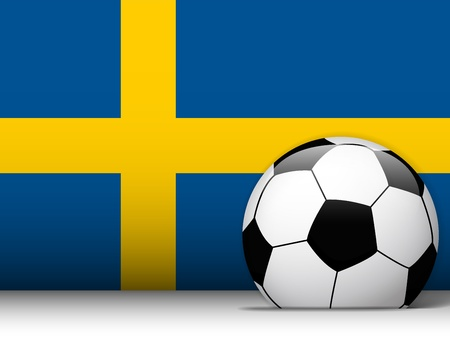 Vector - Sweden Soccer Ball with Flag Background Vector