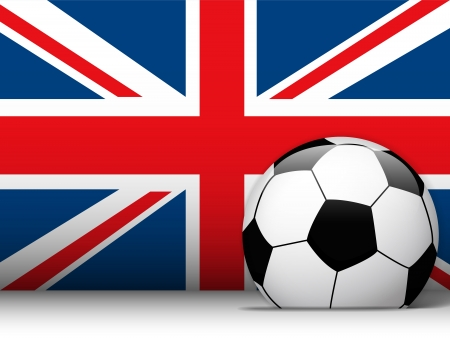 Vector - United Kingdom Soccer Ball with Flag Background Vector
