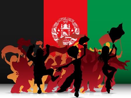 afghanistan: Afghanistan Sport Fan Crowd with Flag