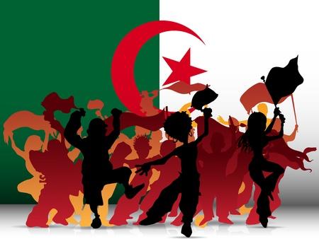soccer fan:   Algeria Sport Fan Crowd with Flag Illustration