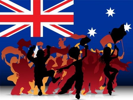 crowd cheering:  Australia Sport Fan Crowd with Flag