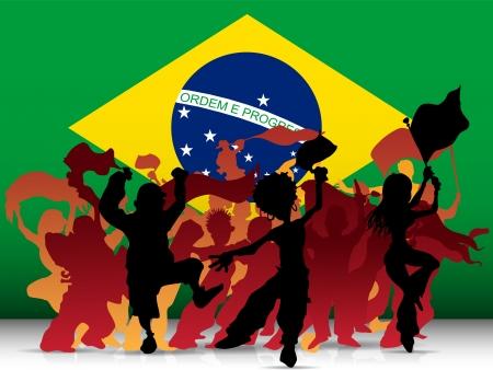 soccer fan:  Brazil Sport Fan Crowd with Flag Illustration