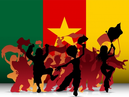 supporter:   Cameroon Sport Fan Crowd with Flag Illustration