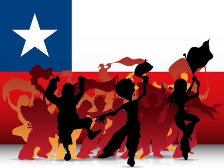 chile flag: Vector - Chile Sport Fan Crowd with Flag Illustration
