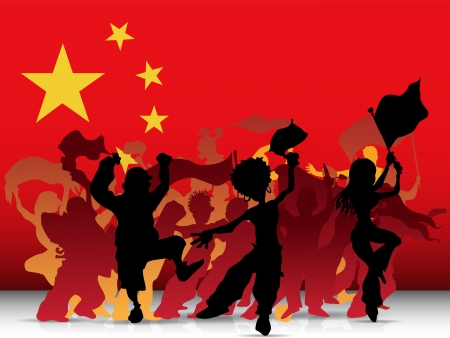 cheering: China Sport Fan Crowd with Flag