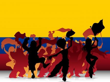 bandera de colombia: Vector - Sport Colombia Multitud ventilador con la bandera