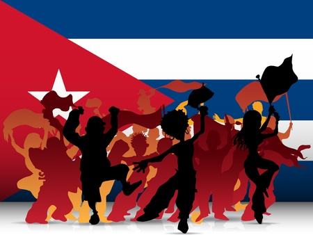 cuba Sport Fan Crowd with Flag Vector