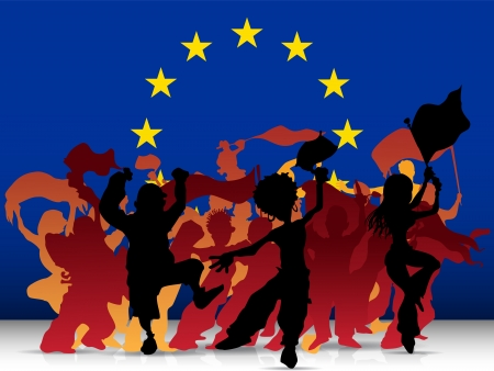 Europe Sport Fan Crowd with Flag Vector
