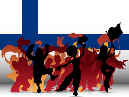 finland: Vector - Finland Sport Fan Crowd with Flag Illustration