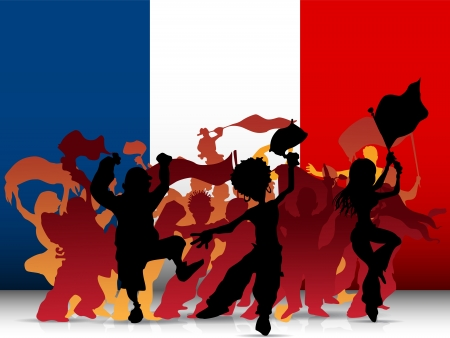 supporter:  France Sport Fan Crowd with Flag