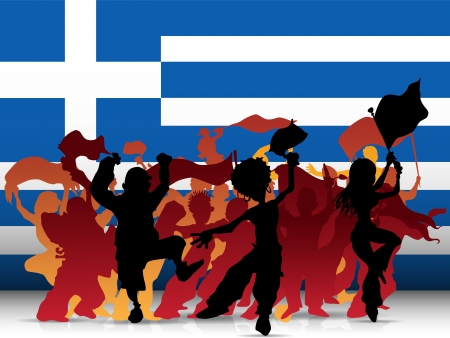 Vector - Greece Sport Fan Crowd with Flag Vector