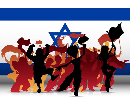 Israel Sport Fan Crowd with Flag Vector