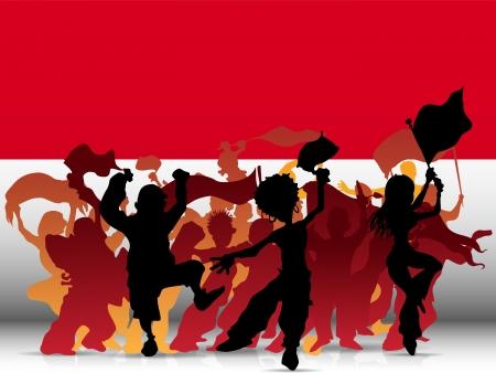 Vector - Monaco Sport Fan Crowd with Flag Vector