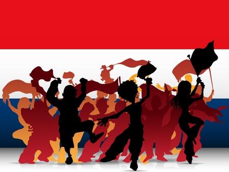 soccer fan: Netherlands Sport Fan Crowd with Flag