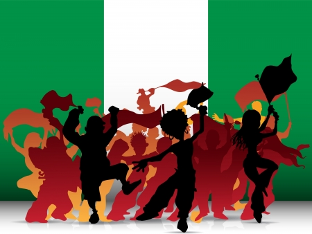 Vector - Nigeria Sport Fan Crowd with Flag Vector