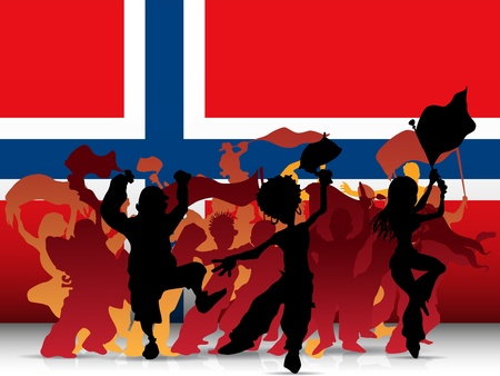 cheering people: Norway Sport Fan Crowd with Flag