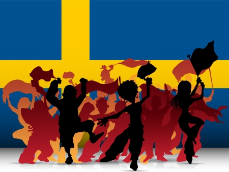 Sweden Sport Fan Crowd with Flag Vector